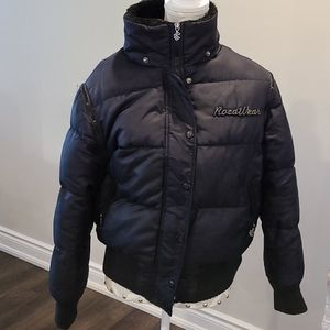 Rocawear black down / feather jacket rem.Sleeves